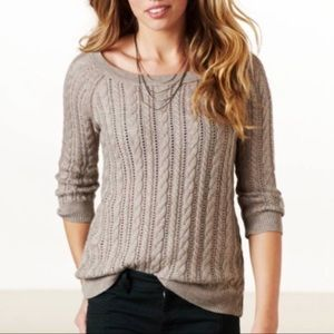AMERICAN EAGLE Brown Cable Knit Sweater 3/4 Sleeve